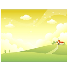 Rolling landscape church vector