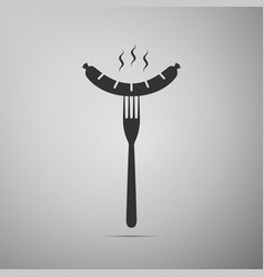 Sausage on fork flat icon on grey background vector