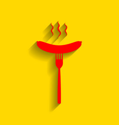 Sausage on fork sign red icon with soft vector