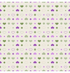 Seamless pattern polka dot with circles and hearts vector