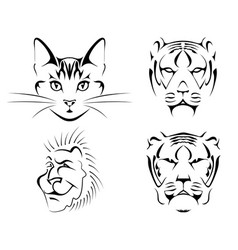 Set of black images of cats on a white background. vector