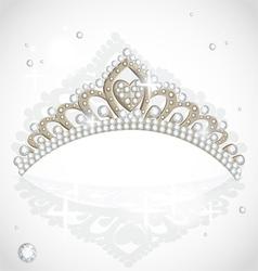 Shining tiara with diamonds vector image vector image