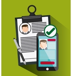 Smartphone pen businessman cv document icon vector