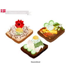 smorrebrod with roast chicken the national dish o vector image