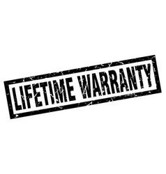 Square grunge black lifetime warranty stamp vector