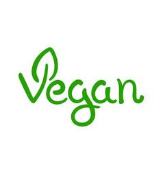 vegan hand written calligraphy green vector image vector image