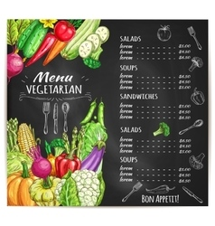 Vegetarian menu of vegetables sketch vector
