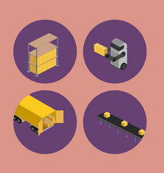 Warehouse logistics isometric icon set vector