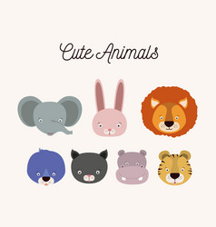 White background with set color face cute animals vector