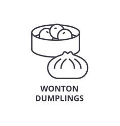 wonton dumplings line icon outline sign linear vector image vector image