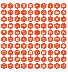 100 information technology icons hexagon orange vector