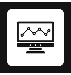 Computer monitor with business graph icon vector