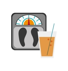 Weight scale and glass beverage icon vector