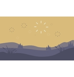 Silhouette of hill and firework landscape vector