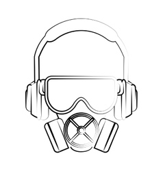 Headphone glasses and mask design vector