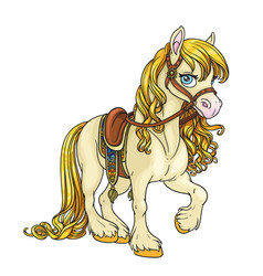 Cute horse with golden mane harnessed to a saddle vector
