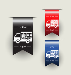 Free delivery labels or ribbons vector