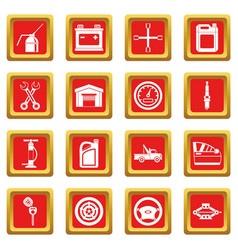 car maintenance and repair icons set red vector image