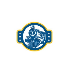Steam train locomotive front retro vector