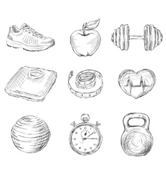 Fitness sketch icons vector image