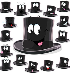 Black top hat cartoon isolated on white background vector
