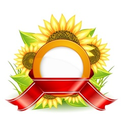 sunflowers ribbon vector image