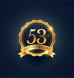 53rd anniversary celebration badge label in vector