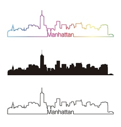Manhattan skyline linear style with rainbow vector