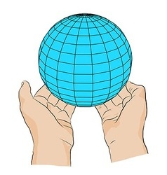 Hand with globe symbol of peace vector