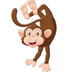 Cartoon happy monkey dancing vector