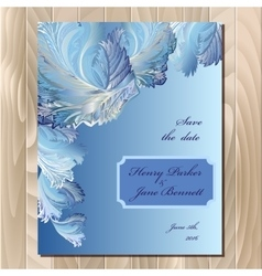 Winter frozen glass design wedding card vector