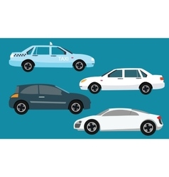 Car icon set collection side taxi vector
