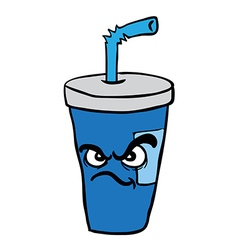 Angry freehand drawn cartoon soda vector