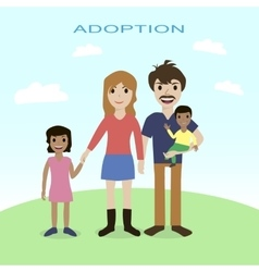 Happy family adoption love mother father vector