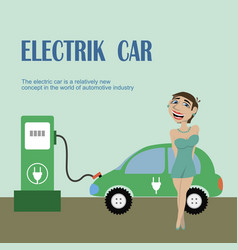 A girl stands near electric car vector
