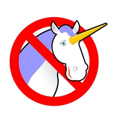 Ban unicorn Stop magical animal Prohibited sexual vector image vector image
