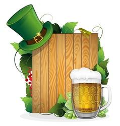 Beer and leprechaun hat vector image vector image