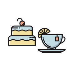 cake and tea cup bakery confectionary shop icon vector image