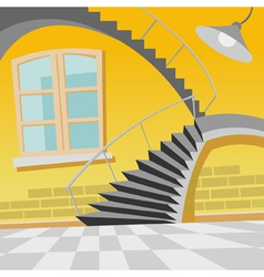 Cartoon interior staircase curve in the room vector