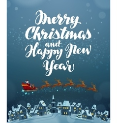 Christmas Flying Santa on sleigh pulled by vector image vector image