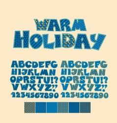 Christmas patchwork style abc font Alphabet symbol vector image