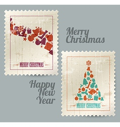 Collection of christmas vintage postage stamps vector
