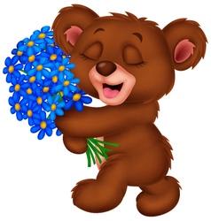 Cute little bear holding a bouquet vector image