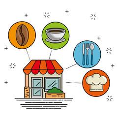 facade restaurant cartoon vector image