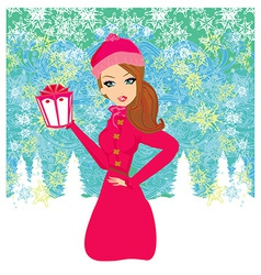 fashion shopping girl with gift box vector image