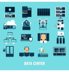 Flat Icon Datacenter Icon Set vector image vector image