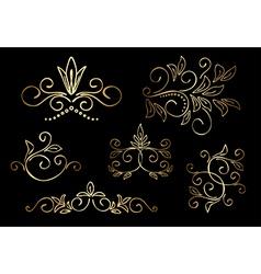 gold floral design elements - set vector image vector image