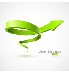 Green spiral arrow 3D vector image vector image