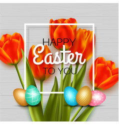 happy easter background with red tulips eggs vector image vector image