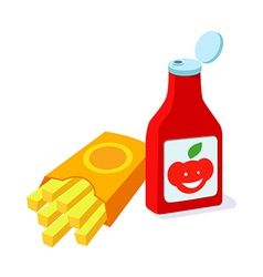 icon potato and ketchup vector image vector image